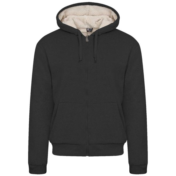 Mens Fur Lined Winter Plain Hoodie Jacket Thick Sherpa