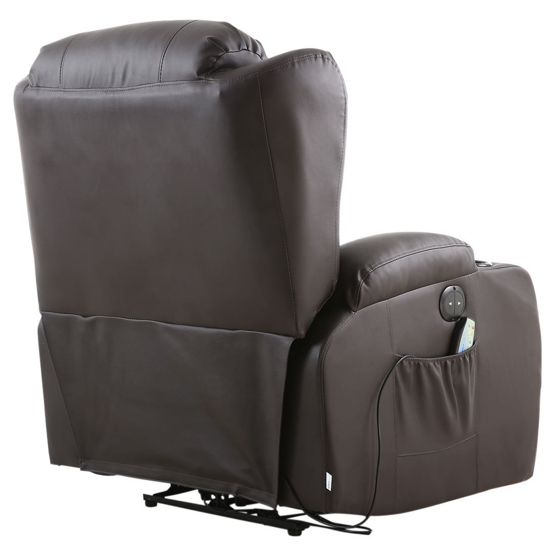 heated chair cover for recliner tall bean bag caesar brown electric leather auto massage