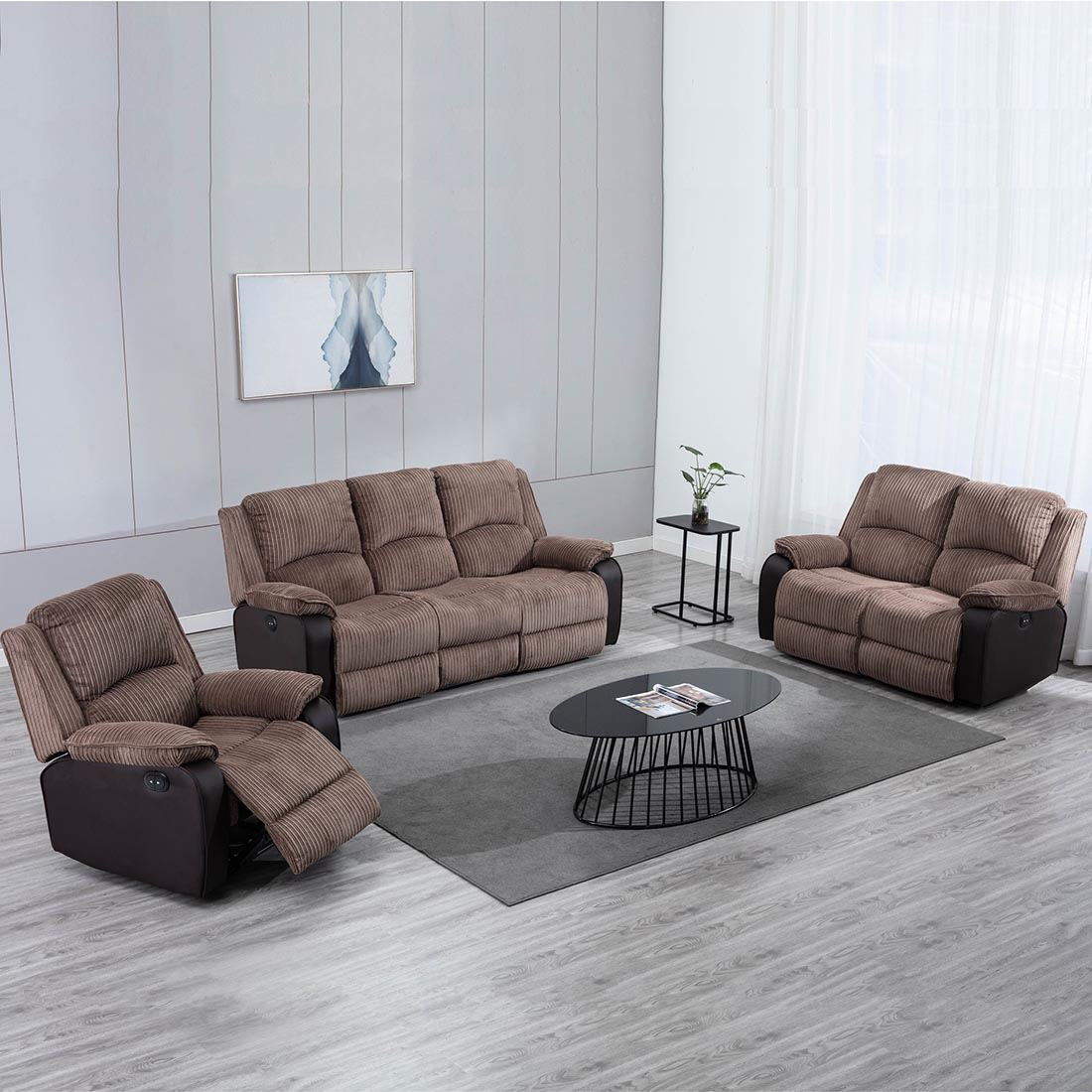 Postana High Back Electric Jumbo Cord Fabric Recliner 3 2 1 Sofa Armchair Set Ebay