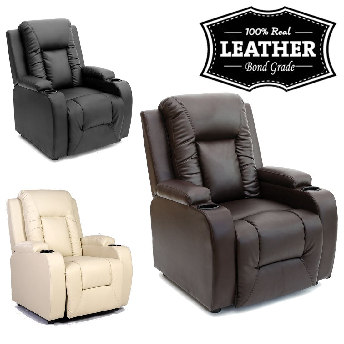 Details About Oscar Leather Recliner W Drink Holders Armchair Sofa Chair Reclining Cinema