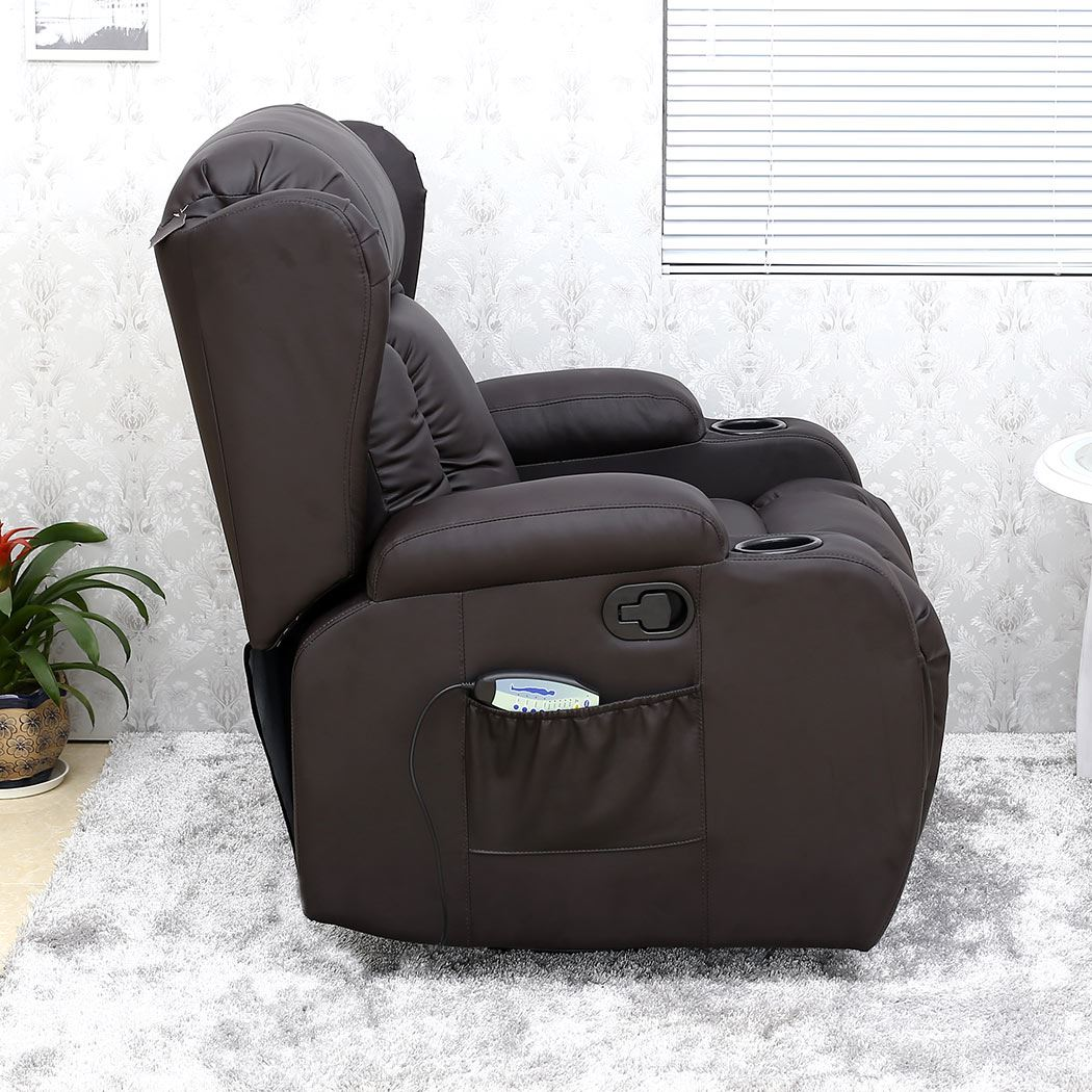 massage gaming chair covers gorey caesar brown winged leather recliner rocking