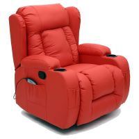 CAESAR RED WINGED LEATHER RECLINER CHAIR ROCKING MASSAGE ...