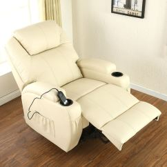Cream Lounge Chair Vitra Ergonomic Cinemo Elecrtic Rise Recliner Leather Massage Heated