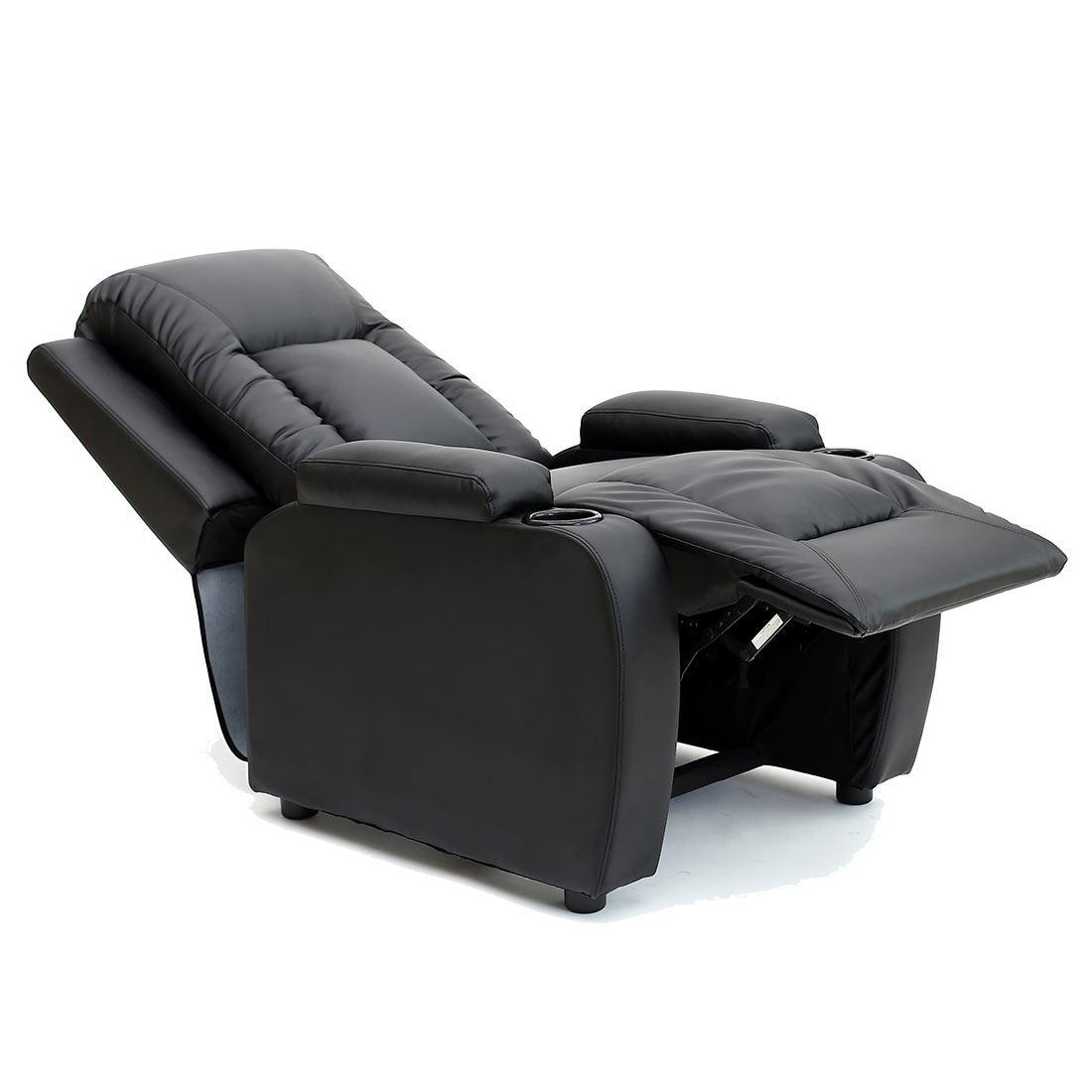sofa armchair drink holder caddy cheap teal set oscar leather recliner w holders chair