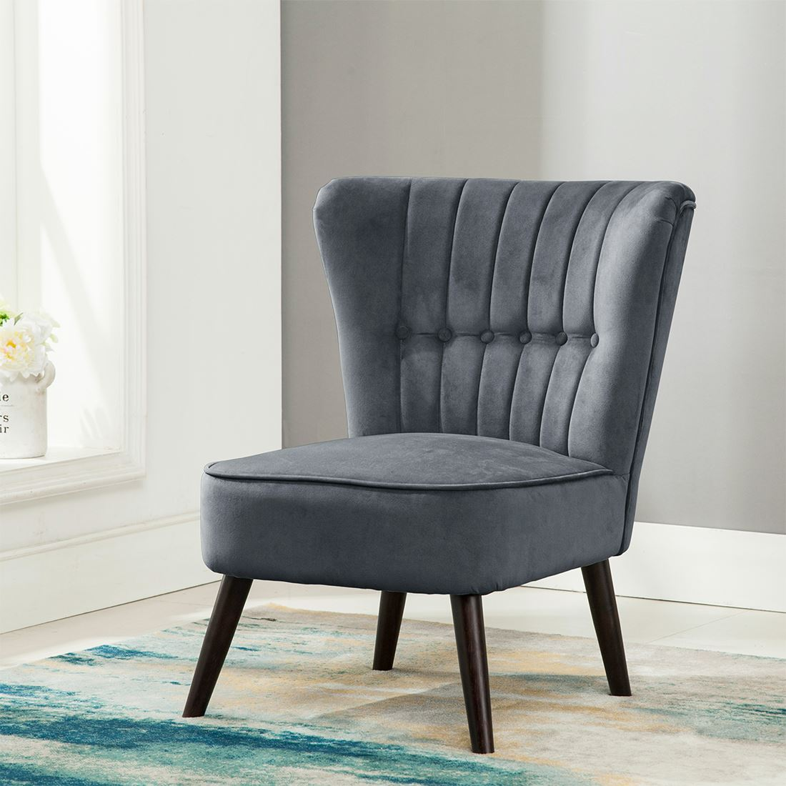 Retro Accent Chairs Eline Velvet Button Back Retro Occasional Accent Bedroom
