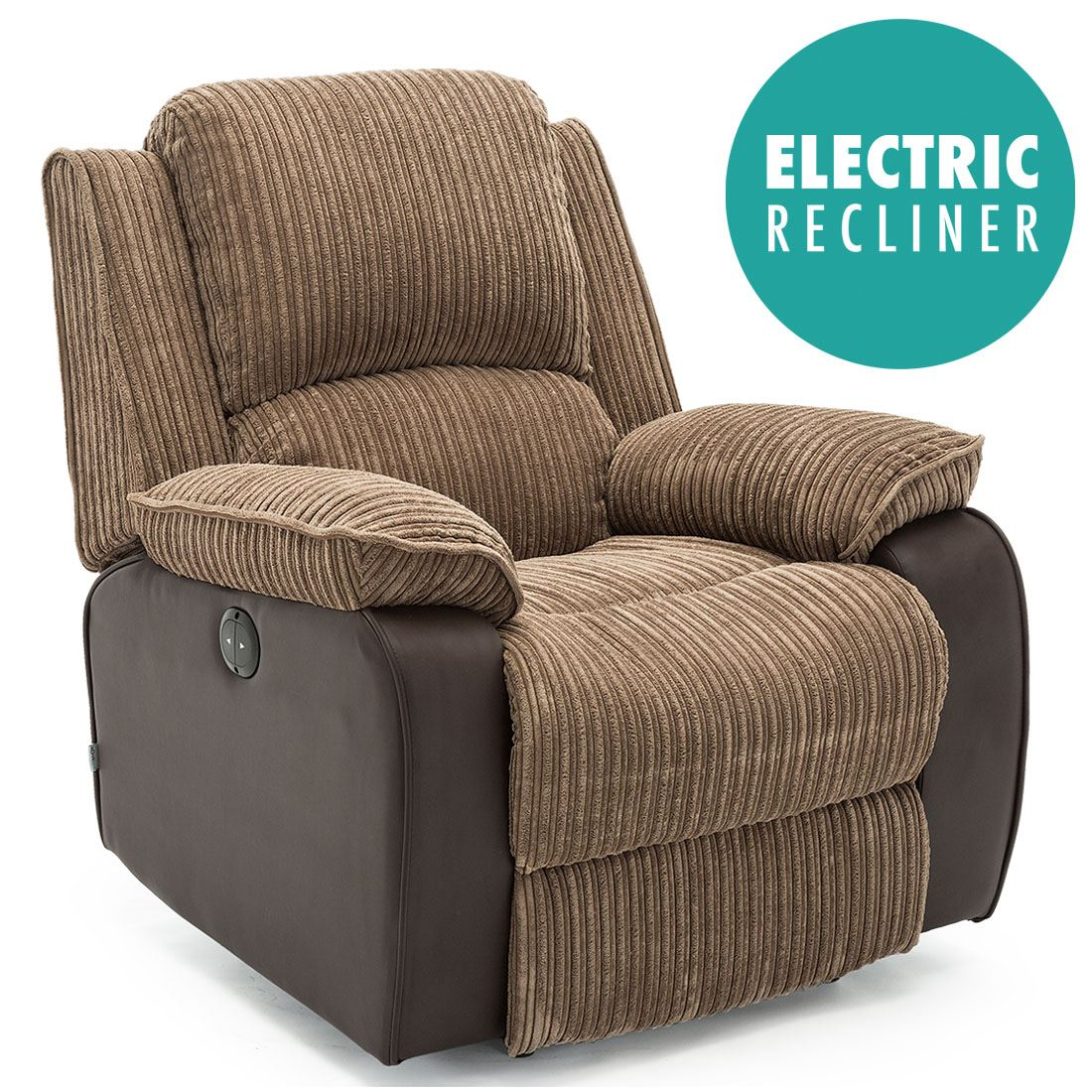 electric reclining chair stool for dressing table postana grey jumbo cord fabric power recliner armchair