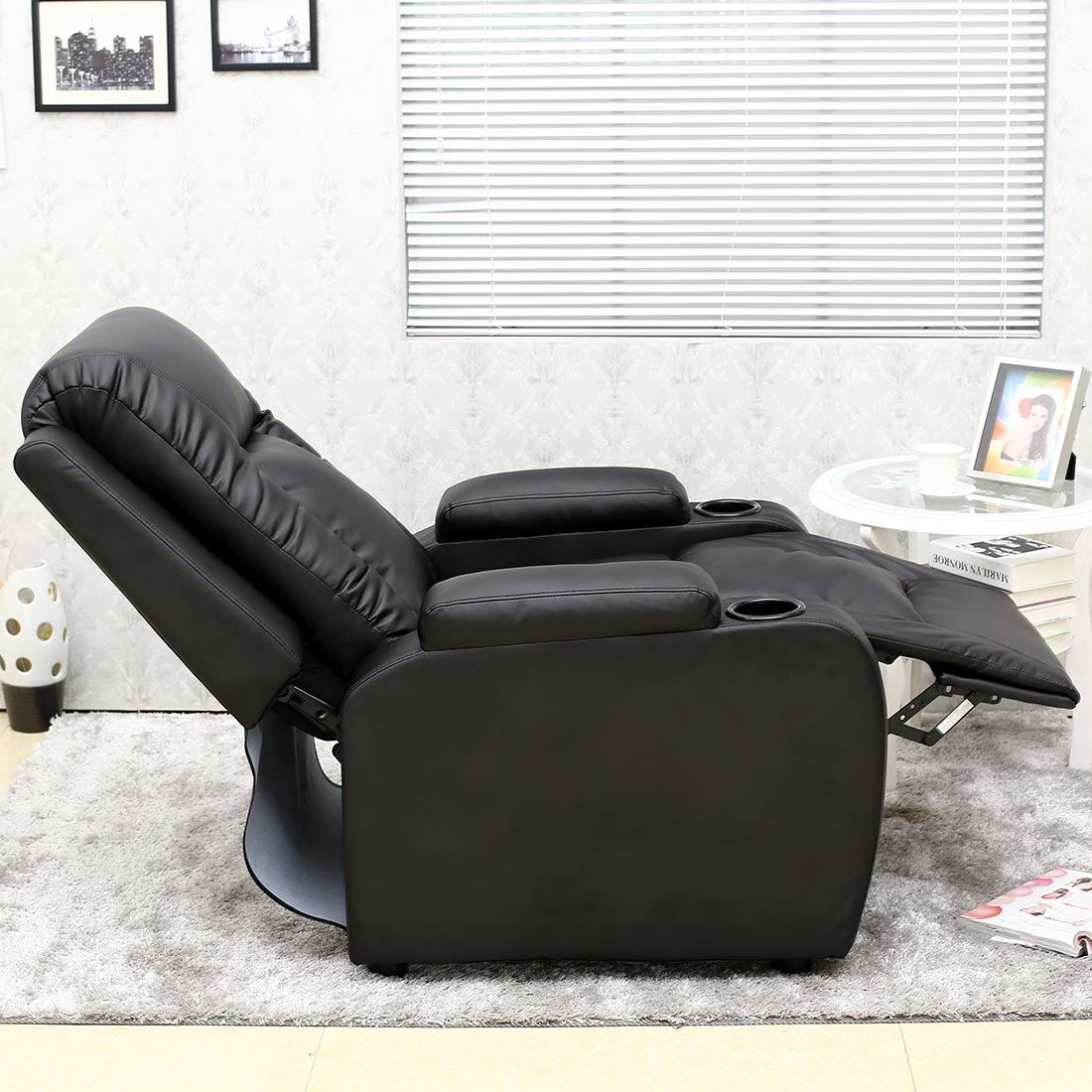 black leather sofa quick delivery albion reviews oscar recliner w drink holders armchair