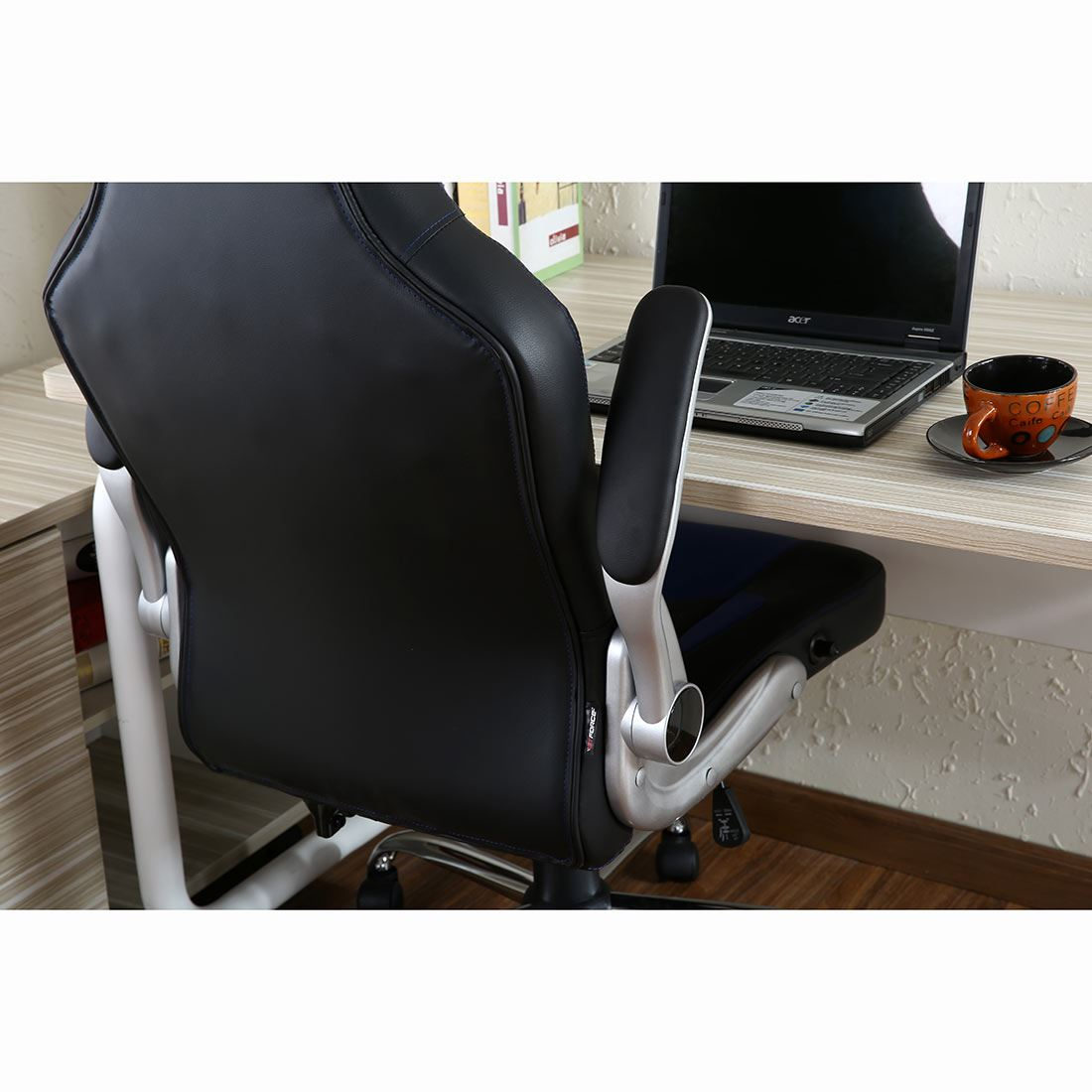 reclining gaming chair steel with tablet arm gtforce blaze leather sports racing office desk