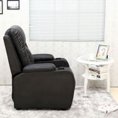 Video Game Chair With Cup Holder Portable Travel High Harness Oscar Black Leather Recliner W Drink Holders Armchair Sofa