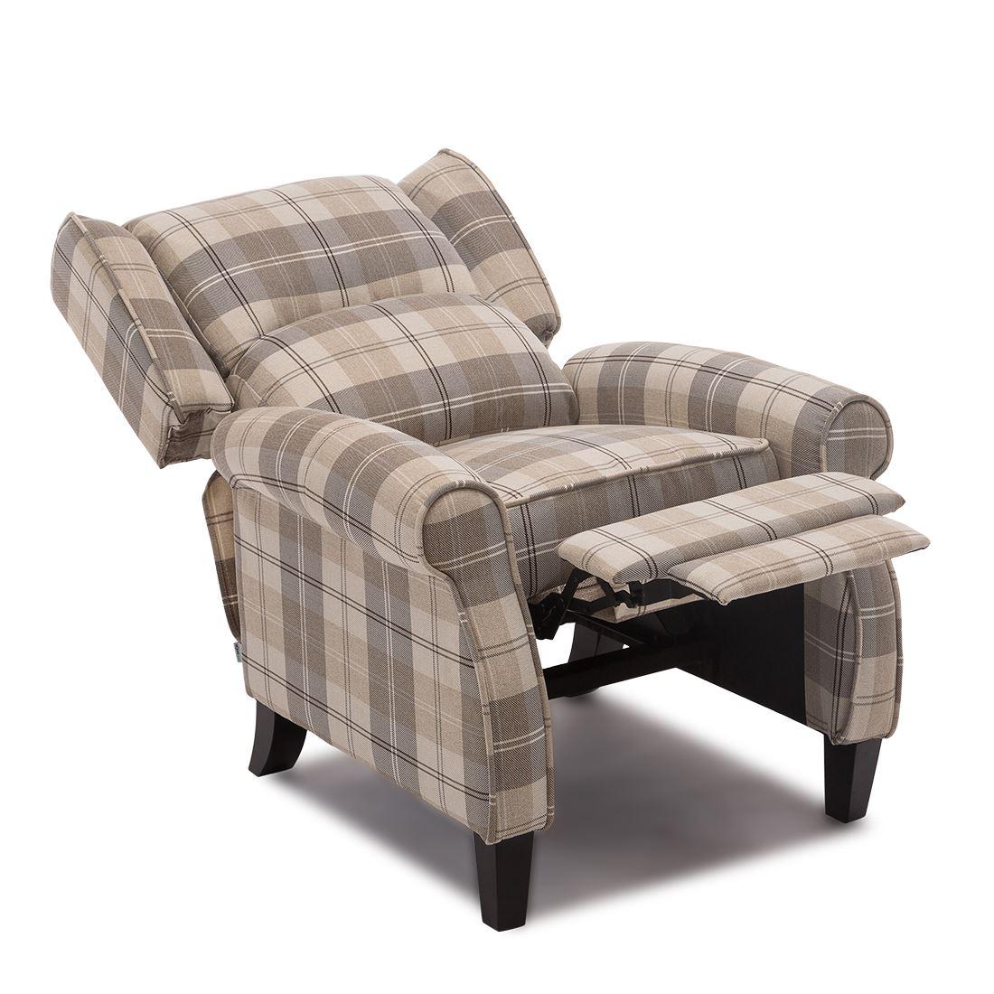 wing back chair recliner zebra print desk eaton fireside check fabric armchair