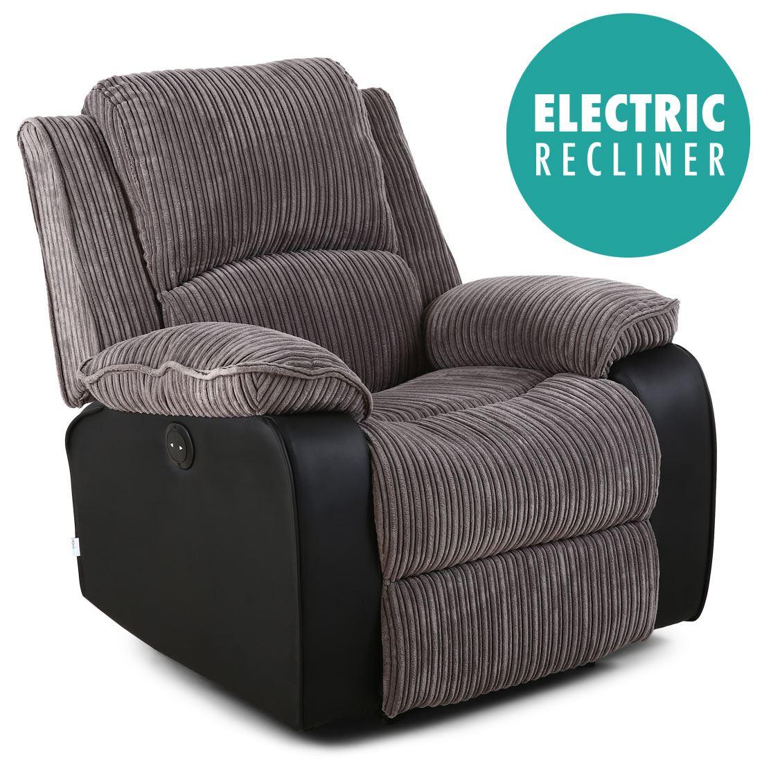 Postana Grey Jumbo Cord Fabric Power Recliner Armchair