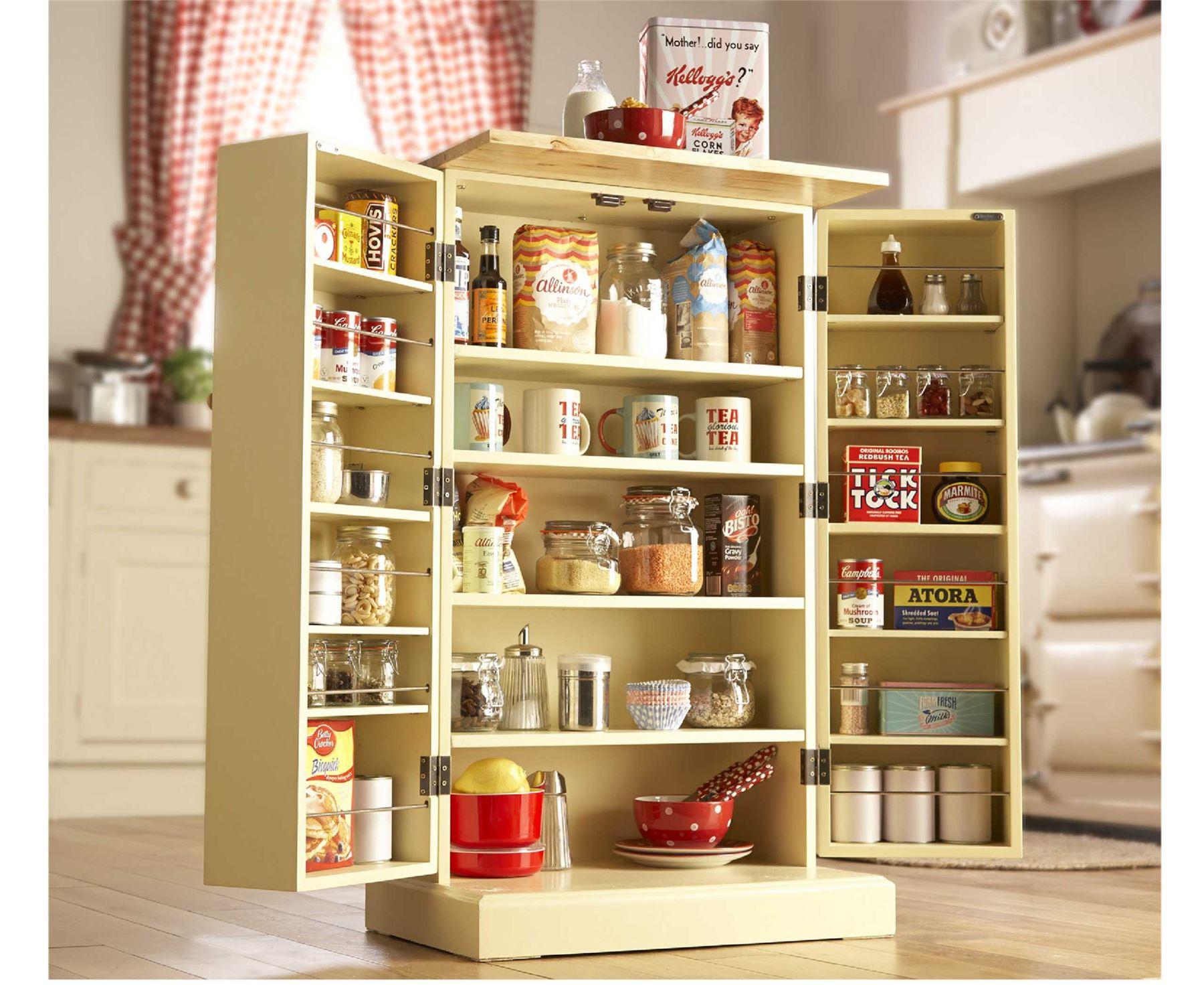 Freestanding Larder Wooden Cupboard Buttermilk Kitchen