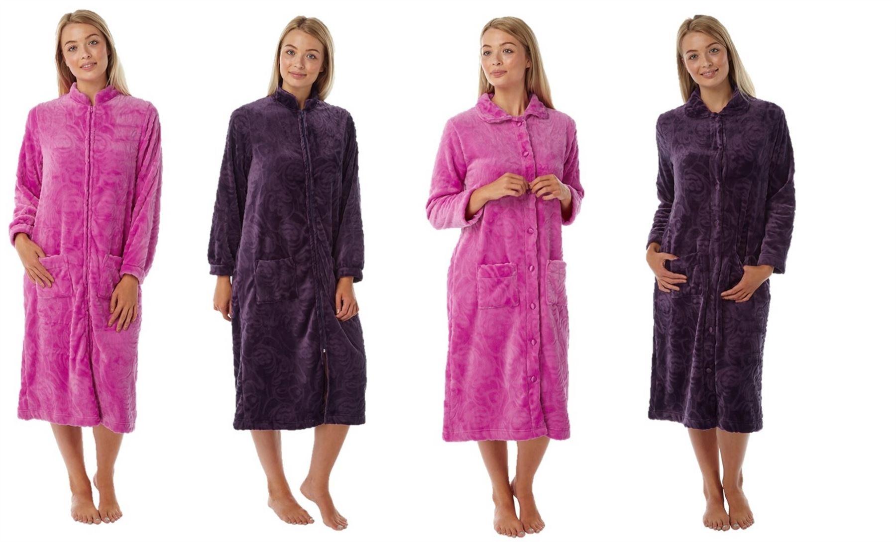 Ladies Womens Dressing Gown Zip Up Button Bath Soft Warm