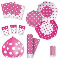 Pink Polka Dot Disposable Party Tableware Plates Cups