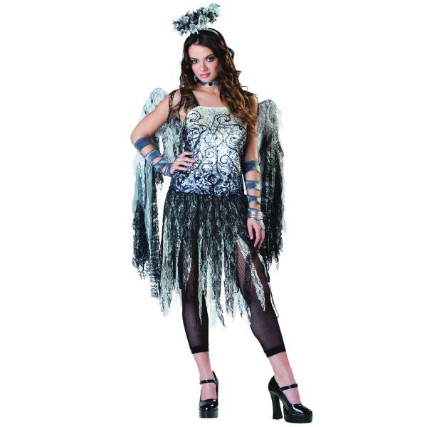 Ladies Black Dark Angel Fairy Adult Sexy Halloween Fancy