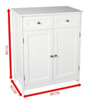 Freestanding Bathroom Cabinet White Vanity Storage Mirror ...