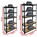 Details About 5 Tier Shelf Black Heavy Duty Warehouse Diy Garage Storage Rack Shelving Unit