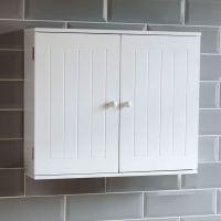 Bathroom Wall Cabinet Double Door Storage Cupboard Wooden ...