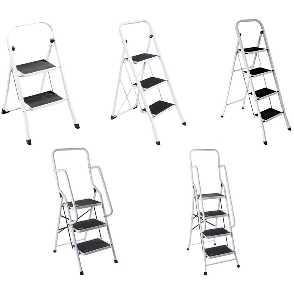2 3 4 Step Ladder Anti-Slip Rubber Mat Tread Steel Folding