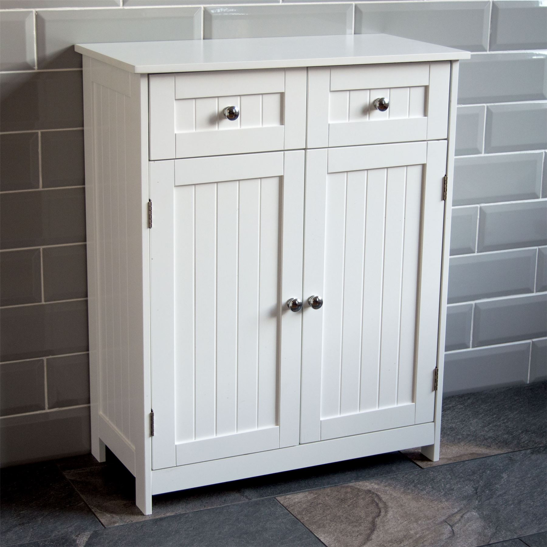 Priano Bathroom Cabinet 2 Drawer 2 Door Storage Cupboard