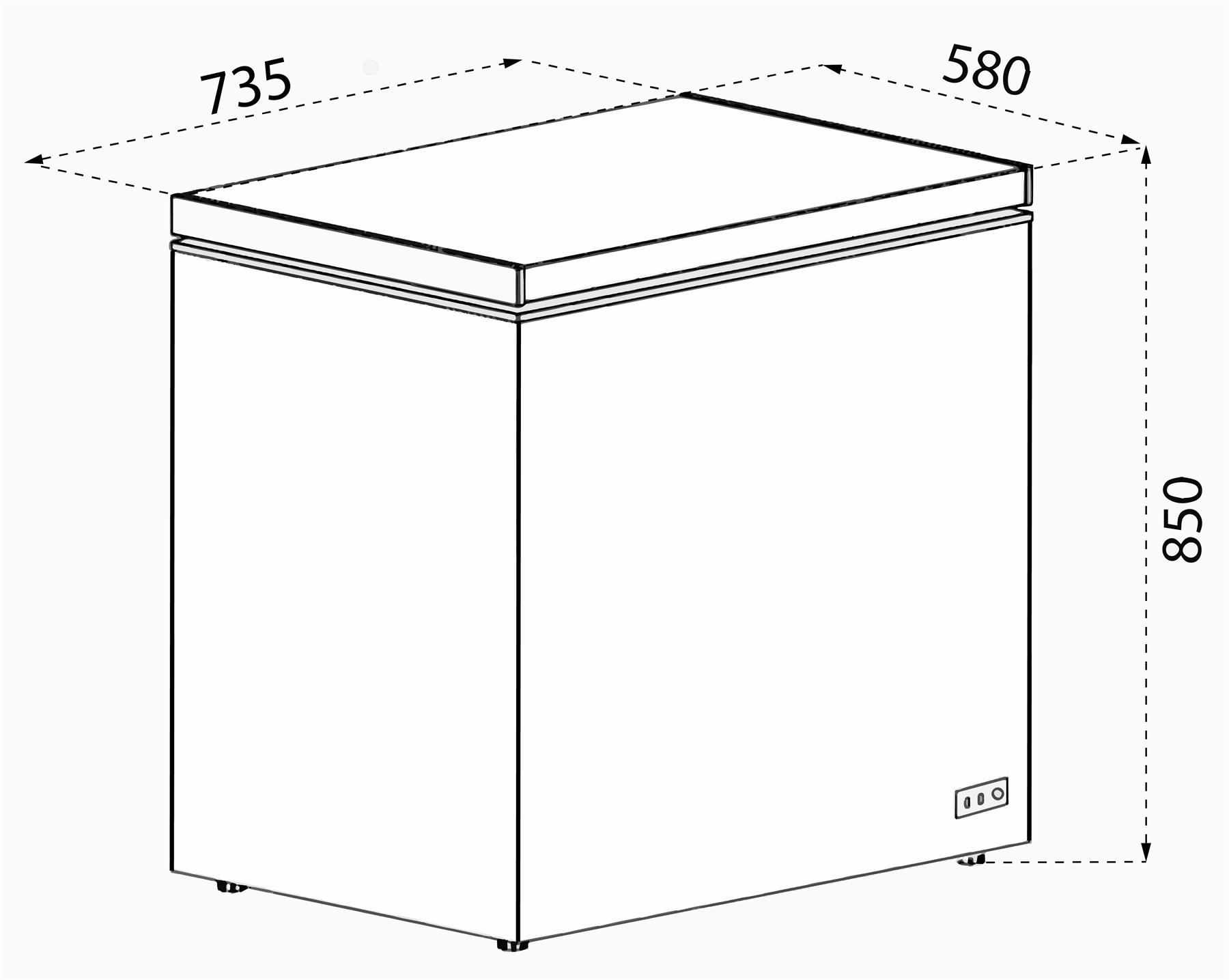 SIA CHF150B 74cm Freestanding 155L Black Chest Freezer