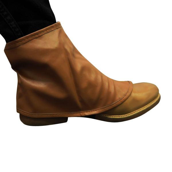 Brown Spats Steampunk Shoe Boot Covers Leather