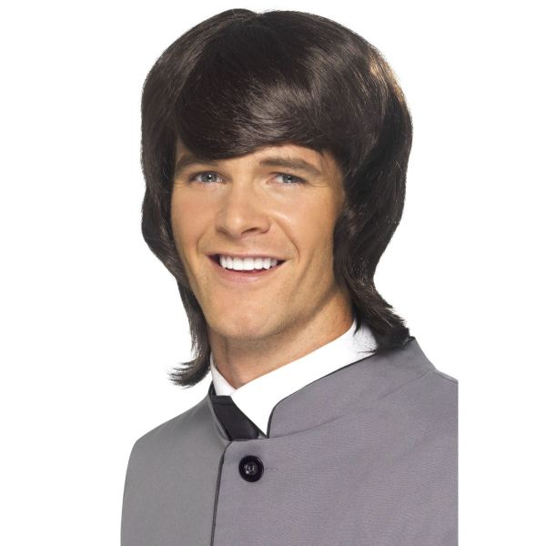 Mens Mod Wig 60s 70s 80s Brown Era Party Retro
