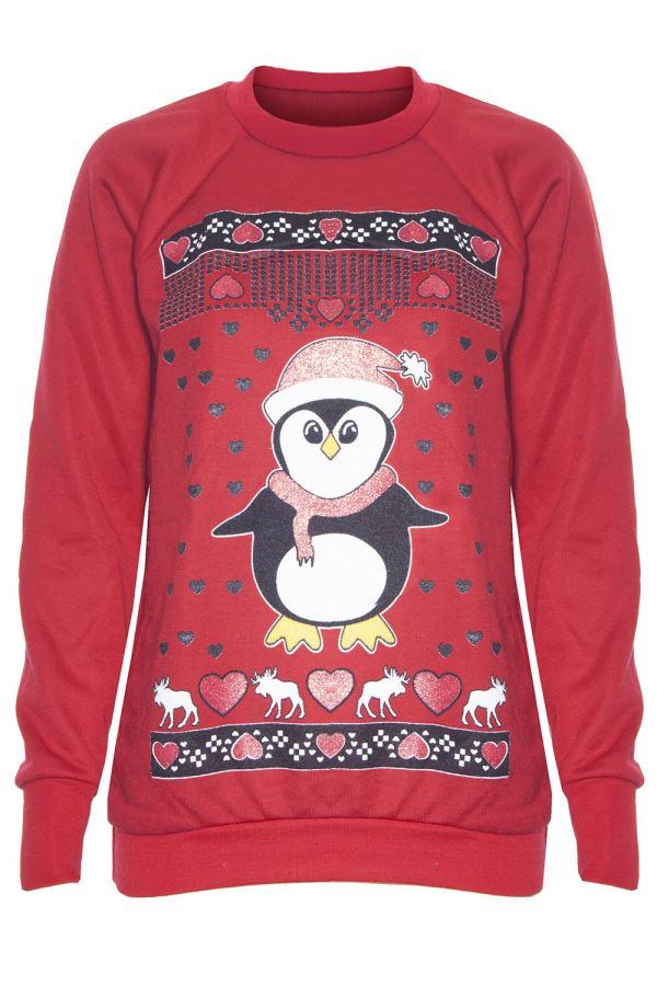 Womens Ladies Reindeer Knitted Christmas Xmas Novelty