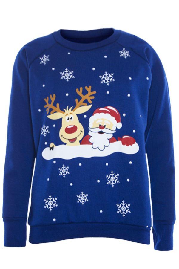 Womens Ladies Long Sleeve Christmas Novelty Reindeer Knit