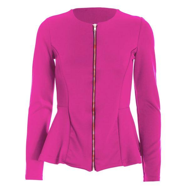 Womens Tailored Full Sleeves Zip Ladies Peplum Ruffle