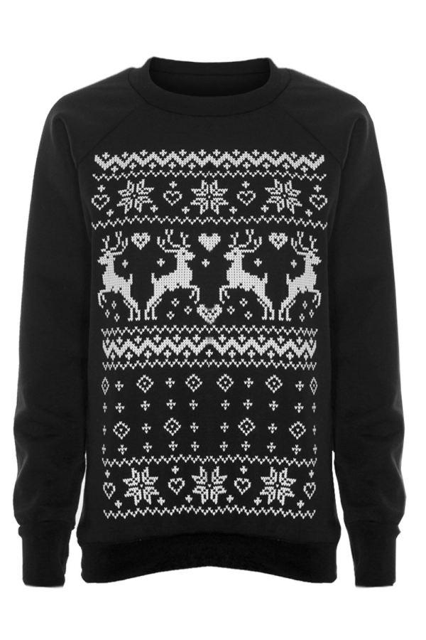 Womens Ladies Christmas Xmas Novelty Reindeer Knitted