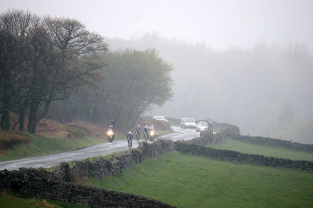 Climbing the last section out of Ewden Bank after the 25% descent to the hairpins where Boonen and Russ Downing crashed in the Tour of Britain in similar damp conditions.