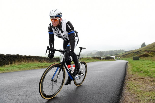 Marcel Kittel tops out over the Bradfield climb before the descent down Kirk Edge Road towards Oughtibridge
