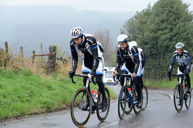 """Climbing the Cote de Midhopestones out of Midhopestones village. The riders then descended down off the climb to Ewden Bank, the 25% hairpin in the """"Strines"""" road. I gave the riders a warning of what lied ahead with the damp conditions making things greasy in places."""