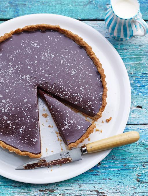 chocolate tart with salt flakes jamie oliver food