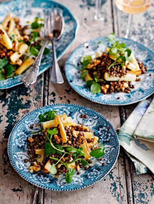 Salată de linte, păstârnac şi nuci