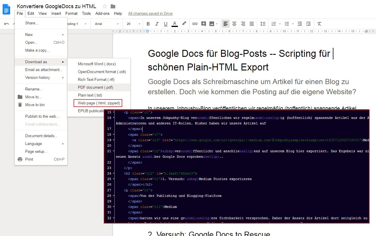 google doc html export