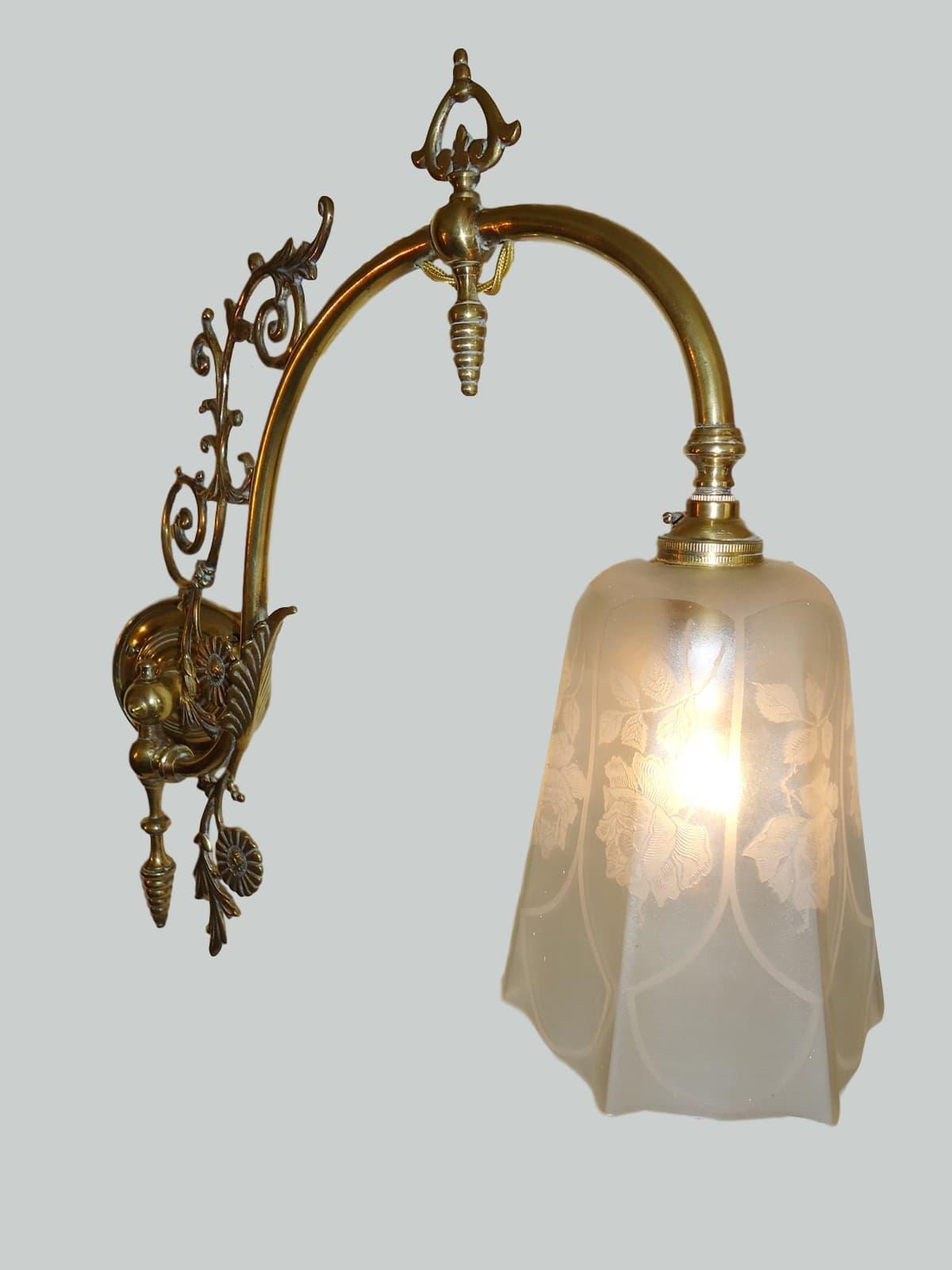 Victorian Adjustable Brass Gas Wall Lights Circa 1895