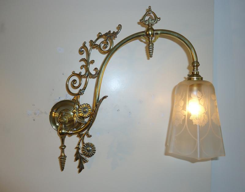 Unsigned 2 Victorian Converted Gas Wall Lights England