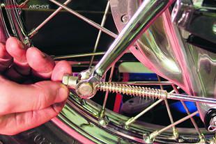 Honda CB750K2 motorcycle, adjusting rear brake