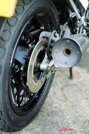 Honda VF motorcycle rear silencer and brake