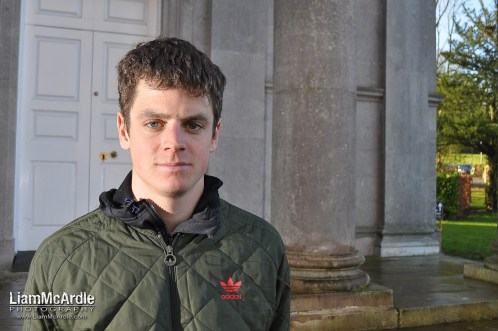Jonnie Brownleei, World Sprint Triathlon Champion in Armagh prior to the Armagh International Road Race , Armagh, 19 February 2015 Credit: LiamMcArdle.com