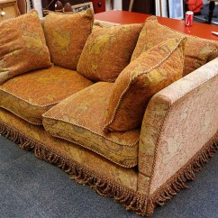 Knole Sofa Grey Fabric Uk Red Damask Woven With Golden Gryphon