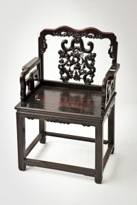CHINESE THRONE CHAIR the back carved with fruiting vine ...