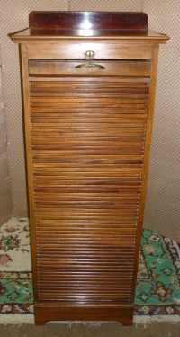 c1910 mahogany tall filing cabinet with roll front cover ...