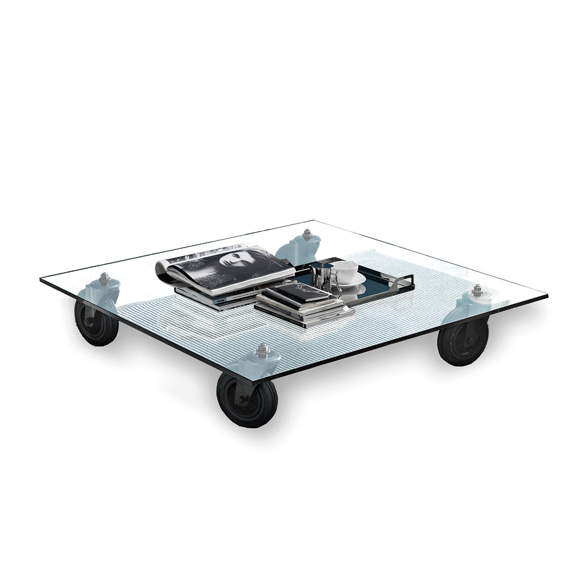 Tavolino con ruote quadrato by FontanaArte  LOVEThESIGN