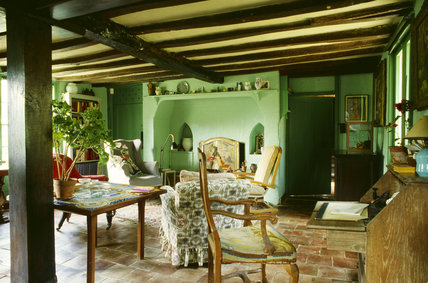 The Sitting Room at Monks House painted in the green