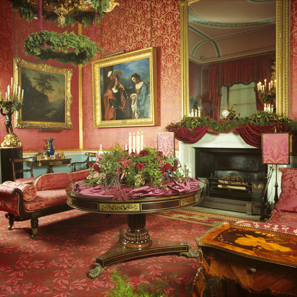 View of the Music Room decorated for Christmas at Tatton