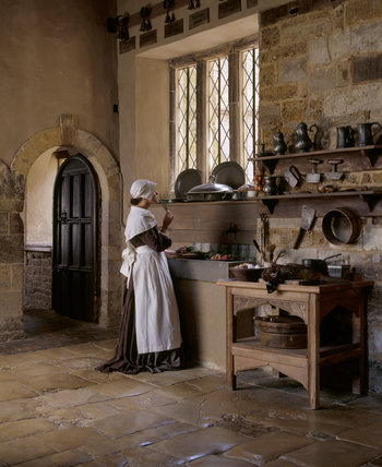 kitchen maid wooden clock a pensive is smelling spring of rosemary at the sink