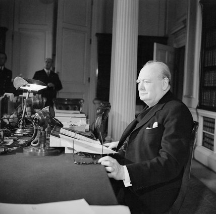 Winston Churchill makes his VE Day radio broadcast from 10
